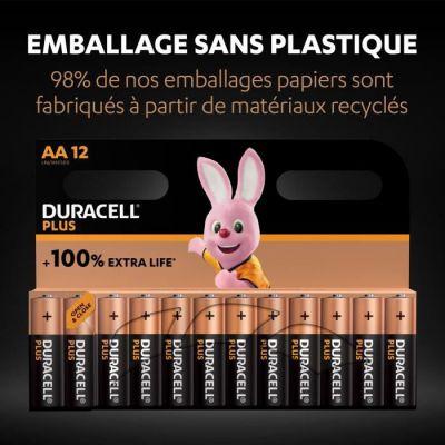 image Duracell - NOUVEAU Piles alcalines AA Plus, 1.5 V LR6 MN1500, paquet de 12