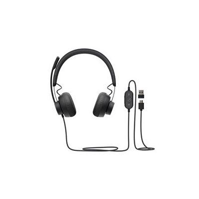image Logitech Zone 750 Casque Filaire Over-Ear avec micro anti-bruit avancé, USB-C et adaptateur USB-A inclus, compatibilité plug-and-play pour tous les appareils - Gris