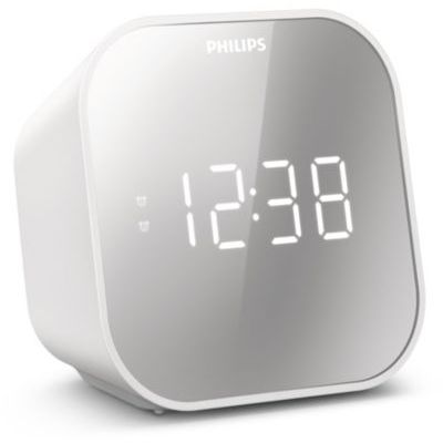 image Radio-réveil Design Miroir avec Tuner FM, Affichage Digital avec Double Alarme, Mise en Veille programmable et répétition de l'alarme, Portable avec Batterie de Secours, Port USB