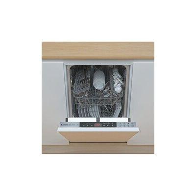 image Candy Brava CDIH 2T1047 Lave-vaisselle Slim à encastrer, 10 couverts, 8 programmes, tactile, Départ différé, 45 x 56 x 82 cm, argenté