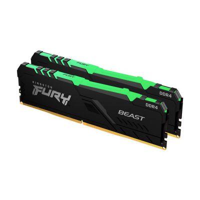 image Kingston FURY Beast RGB 16GB (2x8GB) 2666MHz DDR4 CL16 Mémoire Kit pour PC Kit de 2 KF426C16BBAK2/16