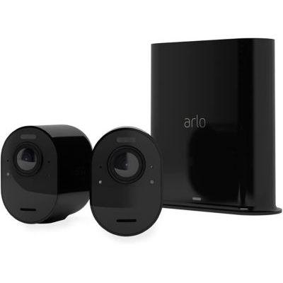 image Arlo Ultra 2 Spotlight Camera de Surveillance WiFi, sans Fil, vidéo 4K et HDR, Vision Nocturne, Audio bidirectionnel, Batterie de 6 Mois, détection de Mouvement, Champ de Vision à 180°, VMS5240B