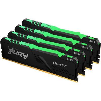 image Kingston FURY Beast RGB 32GB (4x8GB) 3200MHz DDR4 CL16 Mémoire Kit pour PC Kit de 4 KF432C16BBAK4/32