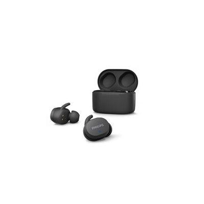 image Écouteurs Philips Intra-Auriculaires TAT3216BK pour Adultes, Commandes Tactiles, Résistance À l'eau, Bluetooth, Autonomie De 24 Heures, Embouts en Silicone Souple 3 Tailles, Micro Intégré. Noir.