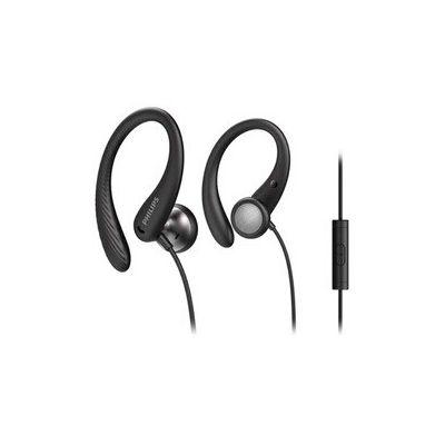 image Philips A1105BK/00 Casque avec Micro, Écouteurs Sport (Arceau Flexible, Ouverture pour Les Basses, Résistant à la Transpiration IPX2, Télécommande en Ligne) Noir - Modèle 2020/2021