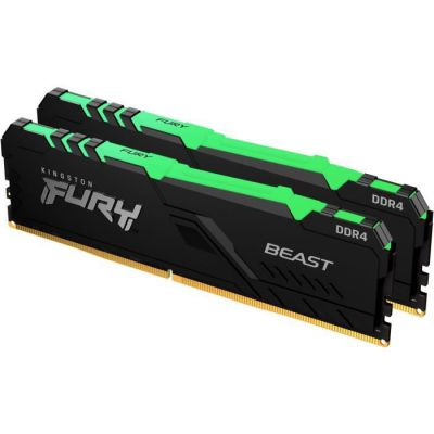 image Kingston FURY Beast RGB 32GB (2x16GB) 3200MHz DDR4 CL16 Mémoire Kit pour PC Kit de 2 KF432C16BBAK2/32