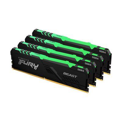 image Kingston FURY Beast RGB 128GB (4x32GB) 3200MHz DDR4 CL16 Mémoire Kit pour PC Kit de 4 KF432C16BBAK4/128