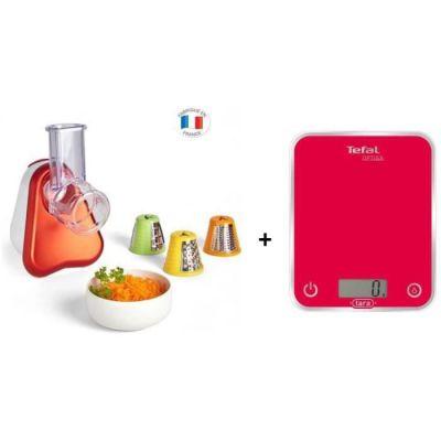 image Tefal BC5003V1 Balance de Cuisine Électronique Optiss 5kg/1g Fonction Tare Conversion Liquide Ecran LCD Framboise