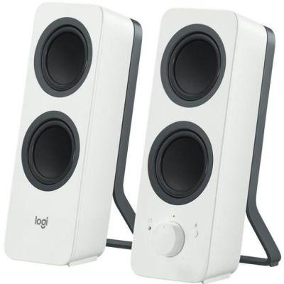 image Logitech Z207 Système de Hauts-Parleurs Bluetooth pour PC, Son Stéréo, 10W en Puissance, Entrée Audio 3,5 mm, Prise Casque, Multi-Dispositifs, Prise EU/FR, Ordinateur/TV/Smartphone/Tablette - Blanc