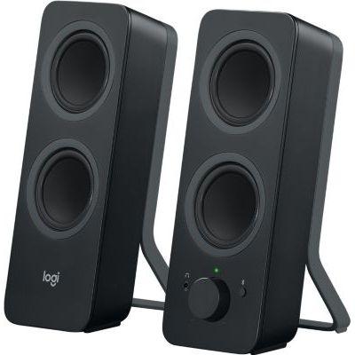 image Logitech Z207 Système de Hauts-Parleurs Bluetooth pour PC, Son Stéréo, 10W en Puissance, Entrée Audio 3,5 mm, Prise Casque, Multi-Dispositifs, Prise EU/FR, Ordinateur/TV/Smartphone/Tablette - Noir