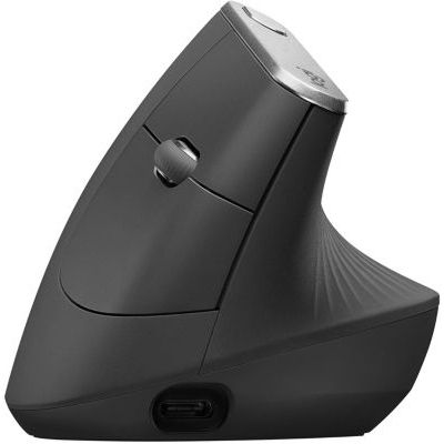 image Logitech MX Vertical Souris sans Fil Ergonomique, Multi-Dispositifs, Bluetooth ou 2,4 GHz avec Récepteur USB Unifying, Suivi Optique 4000 PPP, 4 Boutons, Charge Rapide - Noire