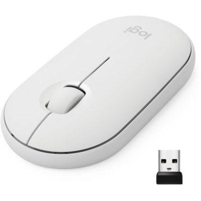 image Logitech M350 Pebble Sans Fil, Bluetooth ou 2,4 GHz avec Mini Récepteur USB, Souris pour Ordinateur avec Clic Sliencieux, Portable/Notebook/PC/Mac/iPad OS - Blanche