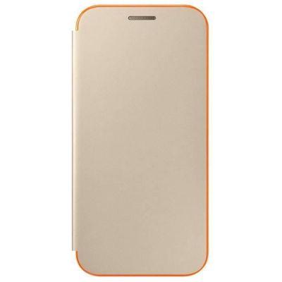image Samsung Neon Flip Cover Coque Folio à Rabat pour Smartphone Galaxy A3 2017 - Or/Orange
