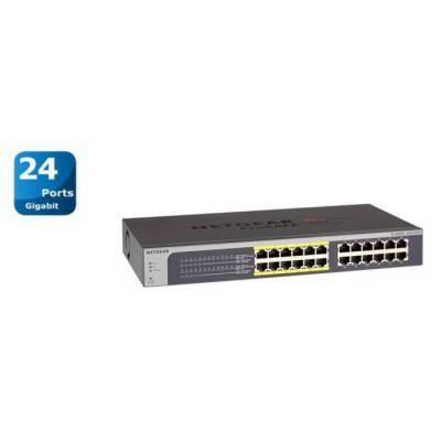 image NETGEAR (JGS524PE) Smart Switch Ethernet PoE 24 Ports RJ45 Métal Gigabit (10/100/1000), Web Manageable PoE, format bureau ou rackable 12 Ports PoE 100 W   Protection à Vie ProSafe-Garantie à vie