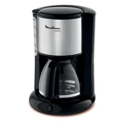 image MOULINEX Cafetières filtre SUBITO inox 10/15 Tasses Machine à café cafetière électriqueCafetière Capacité 1.25L Antigoutte Porte-filtre pivotant Auto off 30 minutes FG360811
