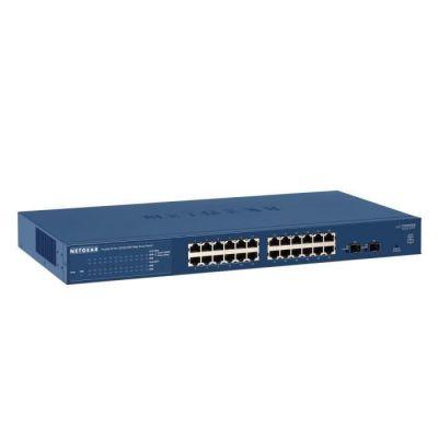 image NETGEAR (GS724T) Smart Switch Ethernet 24 Ports RJ45 Gigabit (10/100/1000), Smart Switch Manageable Professionnel - avec 2 Ports SFP 1 Gigabit, Bureau, en Rack et Protection à Vie ProSafe