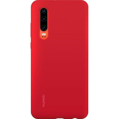 image HUAWEI Silicone Case Aimantee- Coque smartphone rigide finition soft touch rouge pour Huawei P30