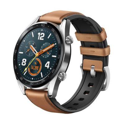 image Huawei Watch GT Montre Connectée (GPS, boîtier 46mm) avec Bracelet Cuir Marron