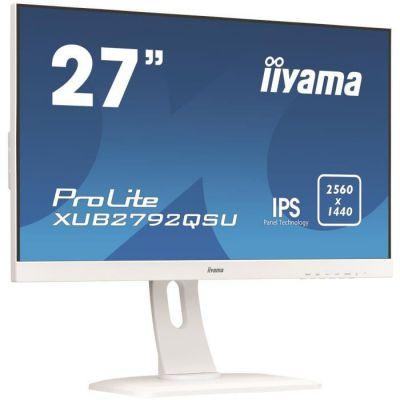 "image iiyama ProLite XUB2792QSU-W1 Écran LED 27"" IPS WQHD VGA/DP/HDMI Hub USB Pied réglable en hauteur Multimédia Châssis Slim Blanc"