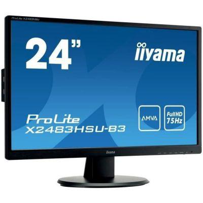 "image Iiyama Prolite X2483HSU-B3 Ecran LED 23,8"" AMVA Full HD 4 ms VGA/DP/HDMI Hub USB Multimedia Noir"