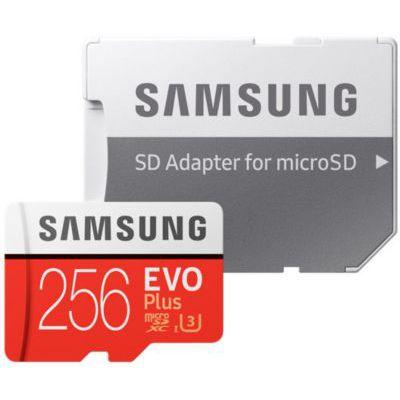 image Samsung MB-MC256GA/EU Carte Mémoire MicroSD Evo Plus 256G avec Adaptateur SD - Rouge/Blanc