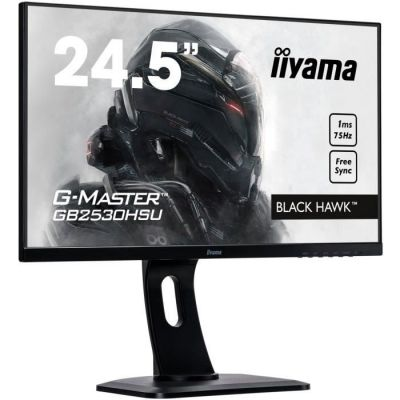 "image Iiyama G-Master Black Hawk GB2530HSU-B1 Moniteur Gaming 24,5"" Full HD 1 ms Freesync 75 Hz VGA/DP/HDMI Hub USB Pied réglable en hauteur Multimédia Châssis Slim Noir"
