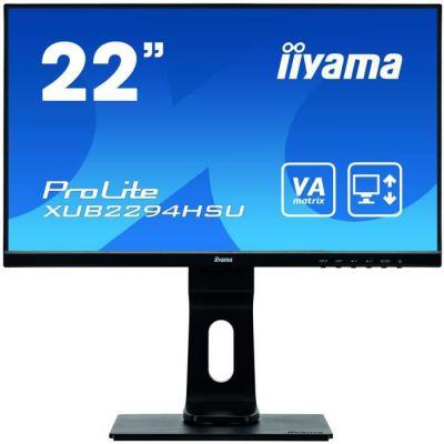 "image iiyama ProLite XUB2294HSU-B1 Écran PC LED 21,5"" LED AMVA Full HD VGA/DP/HDMI Hub USB Pied réglable en hauteur Multimédia Châssis Slim Noir"