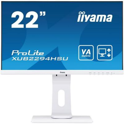 "image produit iiyama ProLite XUB2294HSU-W1 Écran PC LED 21,5"" AMVA Full HD VGA/DP/HDMI Hub USB Pied réglable en hauteur Multimédia Châssis Slim Blanc - livrable en France"