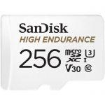 image produit SanDisk High Endurance microSDXC 256Go + Adaptateur SD (100Mo/s en lecture et 40Mo/s en écriture, Class 10, U3, V30)