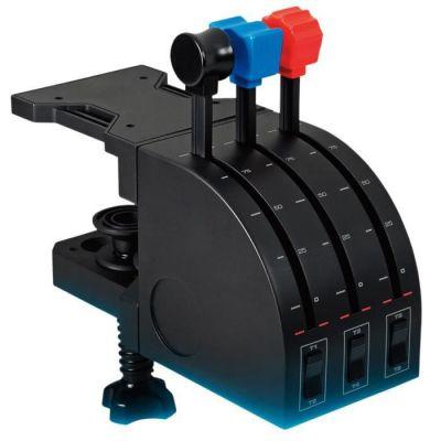 image Logitech G Saitek Pro Flight Throttle Quadrant Levier d'Axe de Bloc Manettes de Vol pour Simulateur de Vol, Ecran LCD, 3 Interrupteurs à Bascule Bidirectionnels, Support Réglable, USB, PC - Noir
