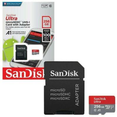 image SanDisk Carte Mémoire MicroSDHC Ultra 256 Go + Adaptateur SD (100Mo/S, Classe 10, U1, Homologuée A1)