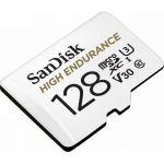 image produit SanDisk HIGH ENDURANCE Carte microSDHC 128Go + Adaptateur SD - pour le monitoring vidéo domestique ou sur dashcam – jusqu'à 100Mo/s en lecture et 40Mo/s en écriture, Class 10, U3, V30 - livrable en France