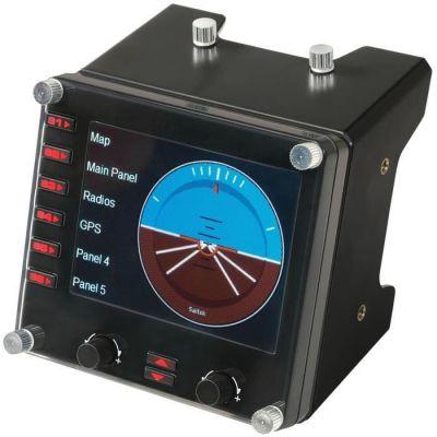 image Logitech G Saitek Pro Flight Instrument Panel Tableau de Bord pour Simulateur de Vol, Ecran Couleur LCD 3,5 Pouces, 15 Options d'Affichage, Connexion USB, Modulaire - Noir