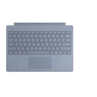 image Microsoft Clavier Signature Type Cover pour Surface Pro - compatible Surface Pro 3/4/5/6/7 (Alcantara, rétroéclairage LED, pavé tactile en verre) - Clavier AZERTY français - Bleu Glacier