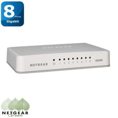 image NETGEAR (GS208) Switch Ethernet 8 Ports RJ45 Gigabit (10/100/1000), plastique, Idéal pour étendre la connectivité réseau au sein des TPE, bureaux à domicile, réseaux domestiques