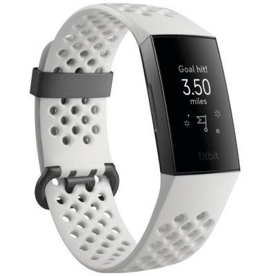 image Fitbit - Charge 3 - Bracelet d'activité Forme et Sport : Jusqu'à 7 Jours d'autonomie et Étanche - Aluminium Graphite / Blanc