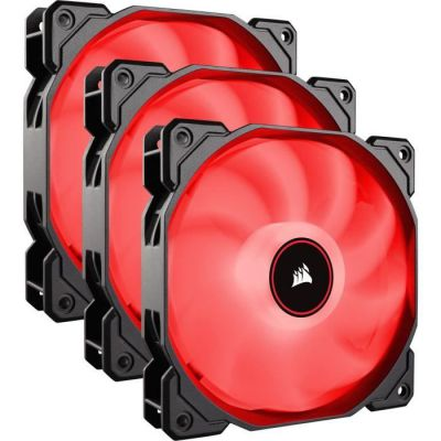 image Corsair AF120, Air Series, 120mm LED Ventilateur Silencieux - Rouge (Pack Triple)