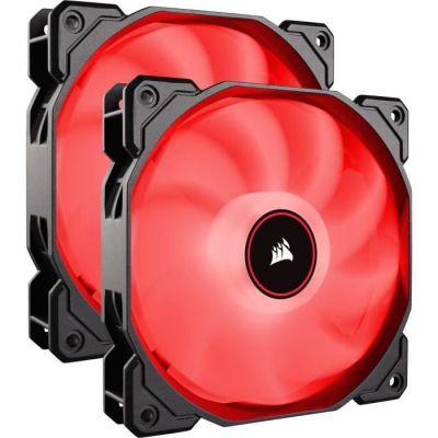 image Corsair AF140, Air Series, 140mm LED Ventilateur Silencieux - Rouge (Pack Double)