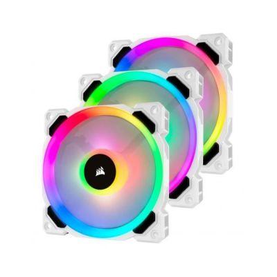 image Corsair LL120, LL Series, 120mm Dual Light Loop RGB LED, PWM, à flux d'air élevé Ventilateur (Pack Triple avec module Lighting Node) - Blanc