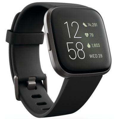 image Fitbit Versa 2 : Montre Connectée Forme et Bien-Être avec Contrôle Vocal, Score de Sommeil et Musique, avec Amazon Alexa Intégrée, Noir, Carbone