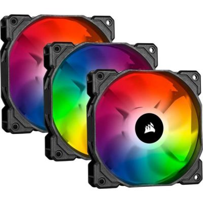 image Corsair iCUE SP120 RGB PRO, 120mm LED RGB, Silencieux, Flux d'air élevé, Ventilateur de Refroidissement (Triple Pack)