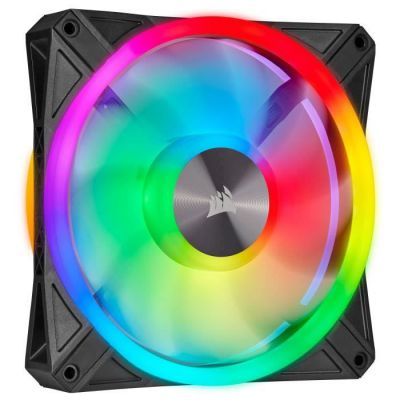 image Corsair iCUE QL140 RGB, Ventilateur LED RGB PWM 140 mm (34 LED RGB Paramétrables Individuellement, Allant jusqu'à 1 250 TR/Min, Faible Bruit) Simple Pack - Noir
