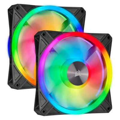 image Corsair iCUE QL140 RGB, Ventilateur LED RGB PWM 140 mm (68 LED RGB Paramétrables Individuellement, Allant jusqu'à 1 250 TR/Min, Faible Bruit) Kit de Deux Ventilateurs avec Lighting Node CORE - Noir
