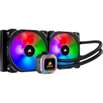 image Corsair Hydro 115i RGB Platinum, Radiateur de 280mm (Deux ML PRO RGB de 140 mm PWM ventilateurs, Contrôle logiciel avancé de l'éclairage RGB et des ventilateurs) Refroidissement Liquide - Noir