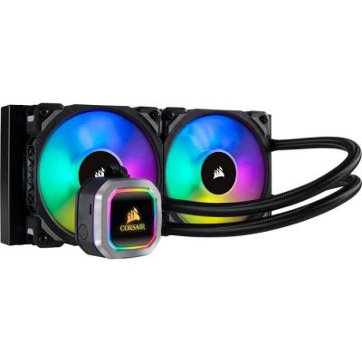 image Corsair Hydro 100i RGB Platinum, Radiateur de 240mm (Deux ML PRO RGB de 120 mm PWM ventilateurs, Contrôle logiciel avancé de l'éclairage RGB et des ventilateurs) Refroidissement Liquide - Noir