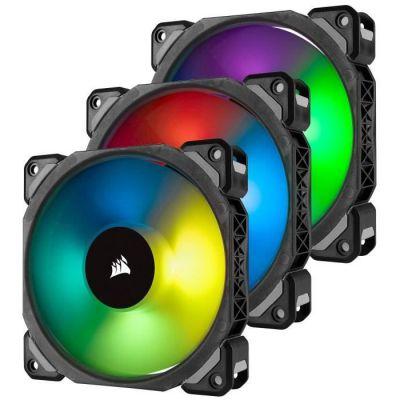 image Corsair ML120 PRO RGB, 120mm Haute Pression à Faible son Premium Ventilateur à Lévitation Magnétique, Lot de 3 Ventilateurs, avec Lighting Node PRO