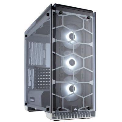 image Corsair Crystal 570X RGB Boîtier PC Gaming (Moyenne Tour ATX avec Fenêtre en Verre Trempé avec trois SP120 RGB Ventilateur) Blanc