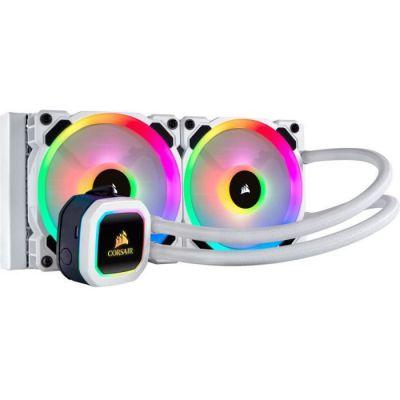 image Corsair Hydro H100i RGB Platinum SE, Hydro Series, Radiateur de 240 mm (Deux Ventilateurs PWM RGB LL120, Avancé de L'éclairage RGB et Des Ventilateurs) Refroidisseur Liquide pour Processeur - Blanc