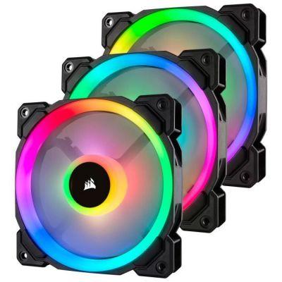 image Corsair LL120 RGB, Ventilateur de Boitier Dual Light Loop RGB LED PWM 120mm avec Lighting Node et Hub (Pack de  3)