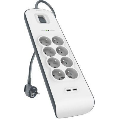 image Belkin - BSV804ca2M - Multiprise/Parafoudre 8 Prises avec 2 Ports USB - Cordon de 2m - Blanc (Protection jusqu'à 900 joules)